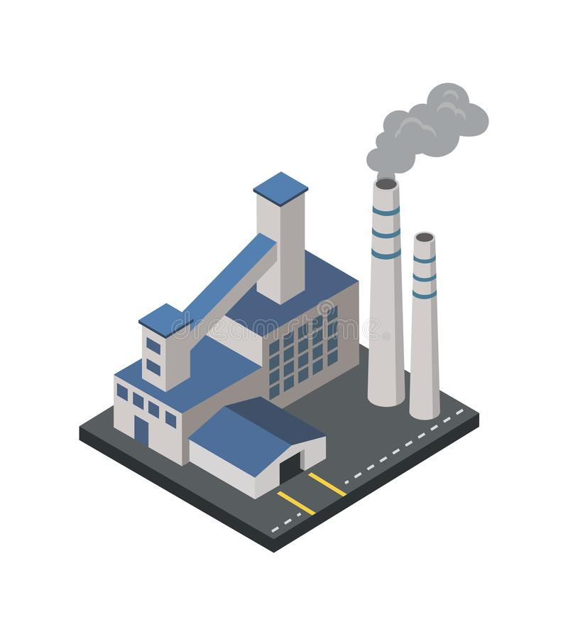 Factory with smoke pipes isometric 3D element. Heavy industry architecture, engineering and manufacturing, environmental pollution vector illustration stock illustration