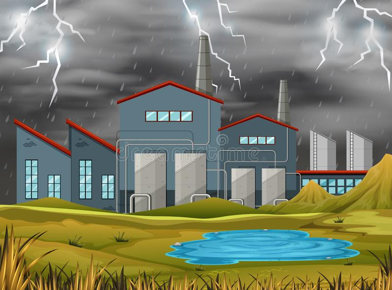 Factory in a storm royalty free illustration