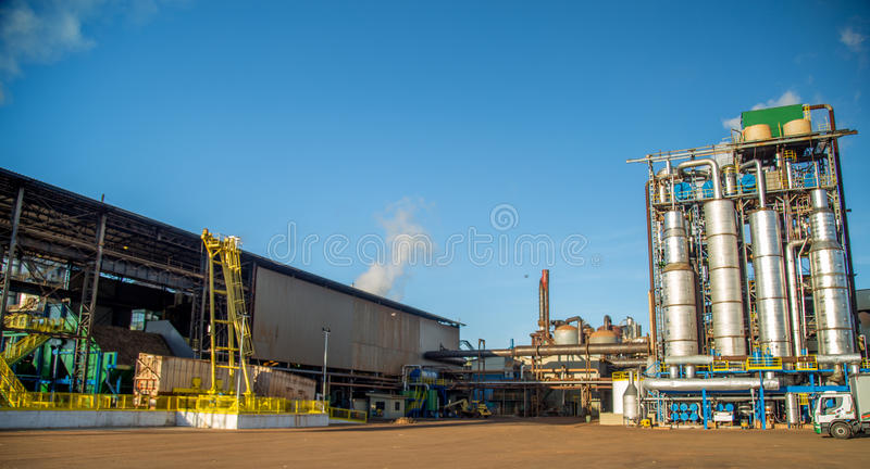 Factory sugar cane industry. Plant royalty free stock photo