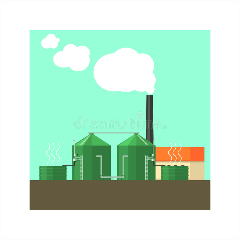Factory With Sylos Outside. Flat Vector Illustration In Simplified Style stock illustration