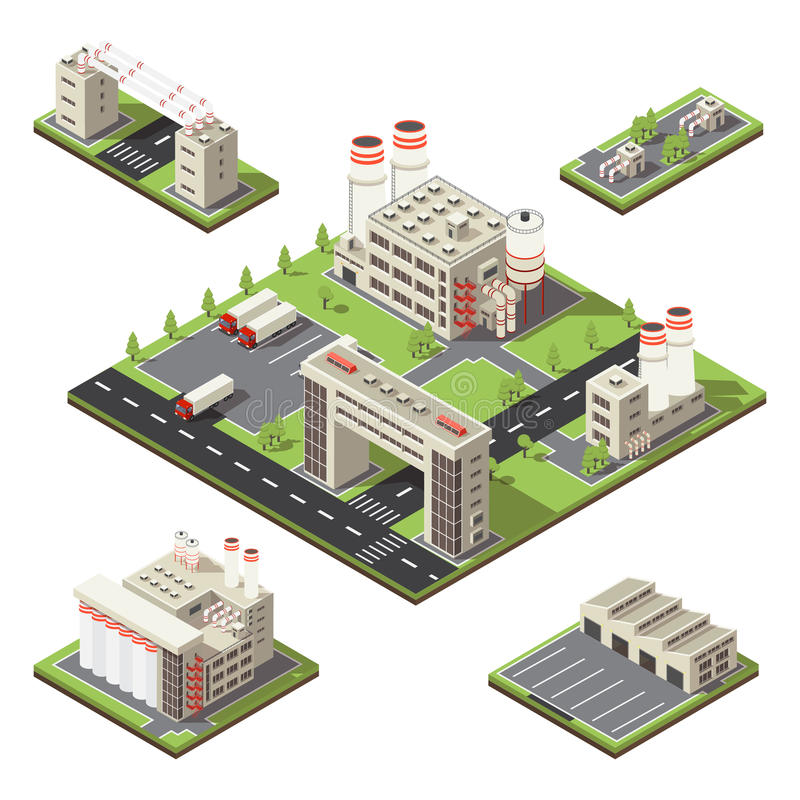 Factory Territory Isometric Composition. Colored and isolated square 3d factory territory isometric composition with volumetric style vector illustration stock illustration