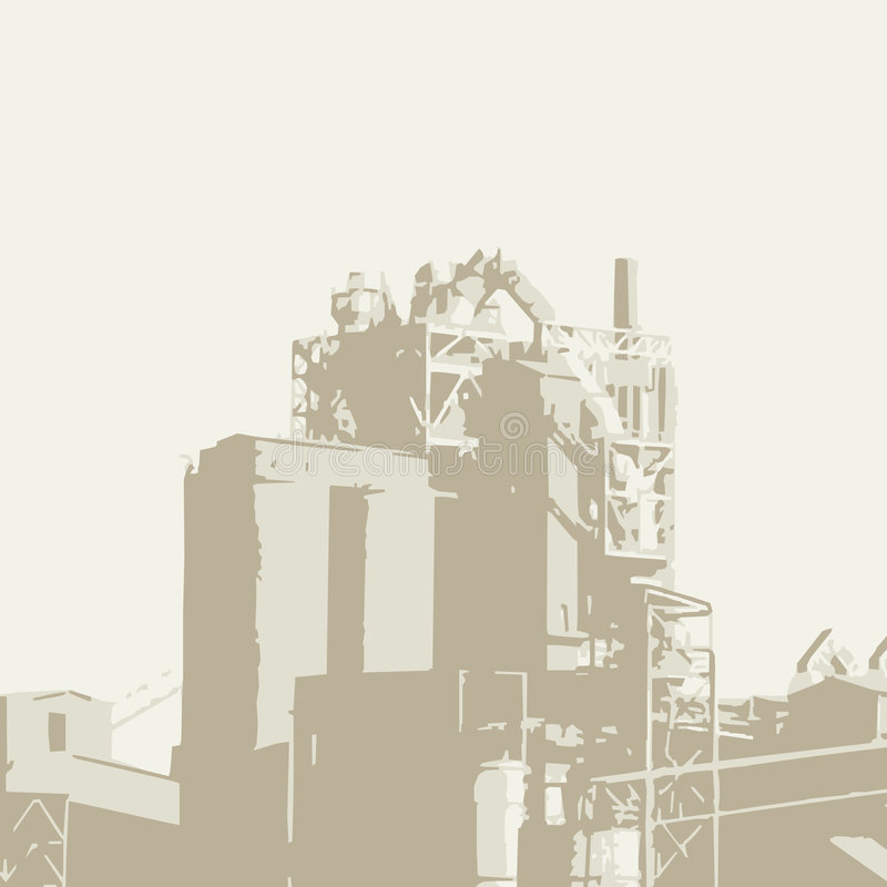 Factory (vector). Drawing of a factory (cmyk to rgb