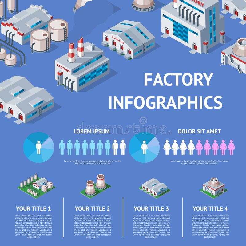 Factory vector industrial building and industry manufacture with engineering power illustration isometric infographics vector illustration