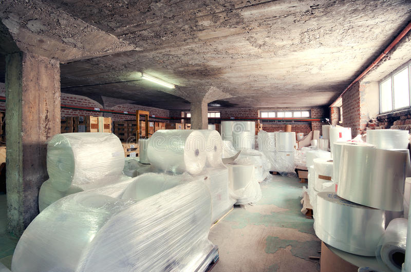 Factory warehouse. Interior of a factory, warehouse of raw materials stock photo
