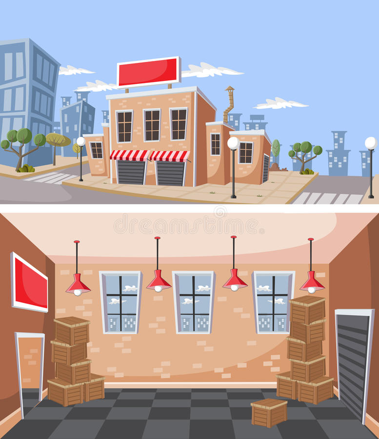 Factory warehouse in the city. vector illustration