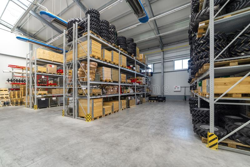 Factory warehouse spare parts. Storage and distribution of components.  stock image