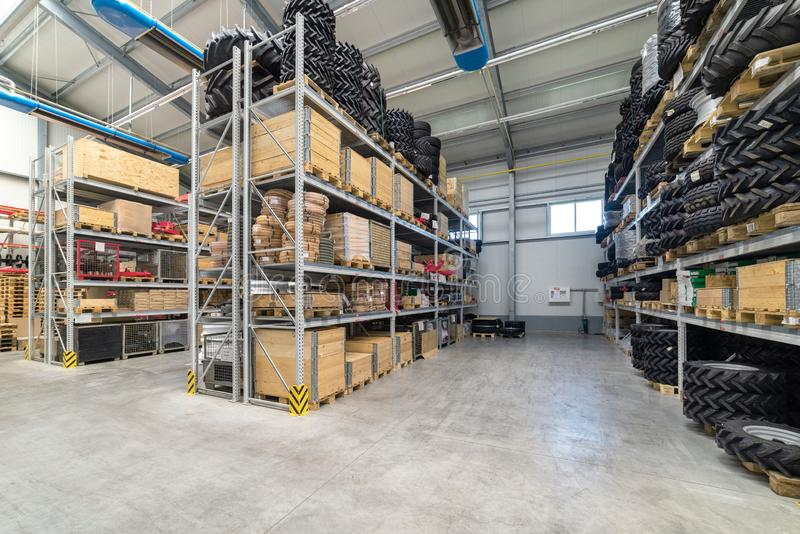 Factory warehouse spare parts. Storage and distribution of components.  stock photos