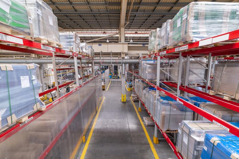 Factory warehouse steel reinforcement. High stacked shelving. royalty free stock photo