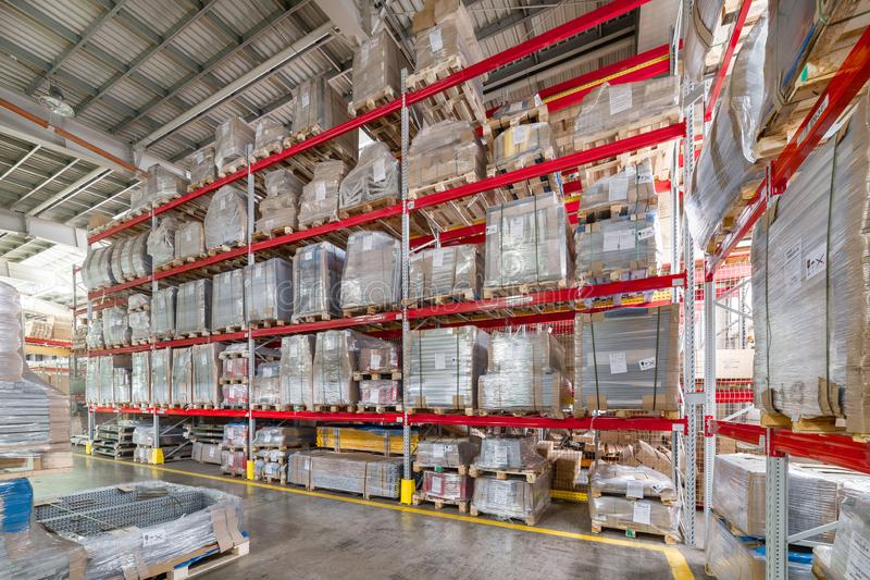 Factory warehouse steel reinforcement. High stacked shelving. royalty free stock photos