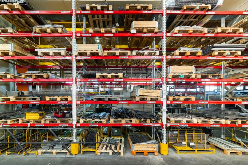 Factory warehouse steel reinforcement. High stacked shelving. stock photo