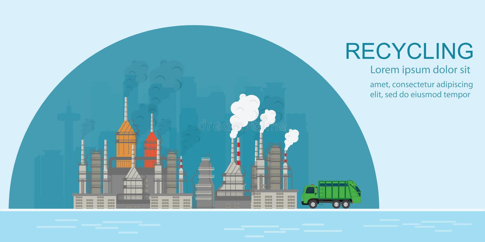 Factory waste processing plant waste recycling with Garbage truck royalty free illustration