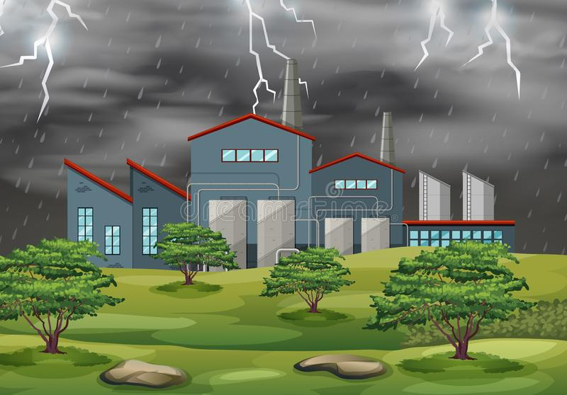 Factory in weather storm royalty free illustration
