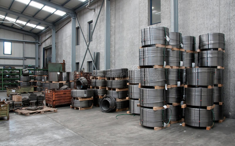Factory wharehouse. Inside of factory wharehouse with goods royalty free stock photography