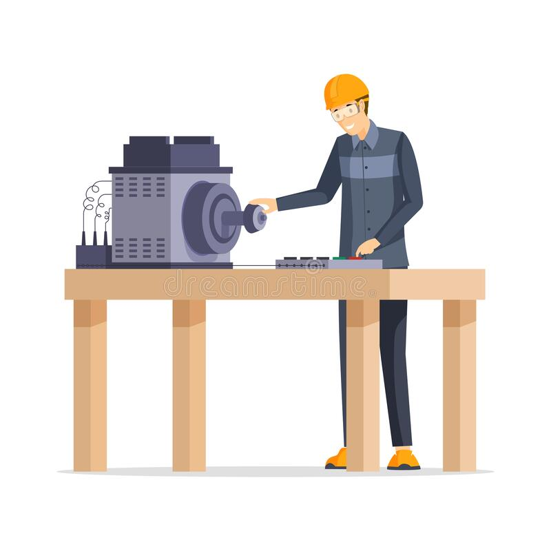 Factory worker flat vector illustration. Happy manufacturing plant employee standing behind workbench cartoon character vector illustration