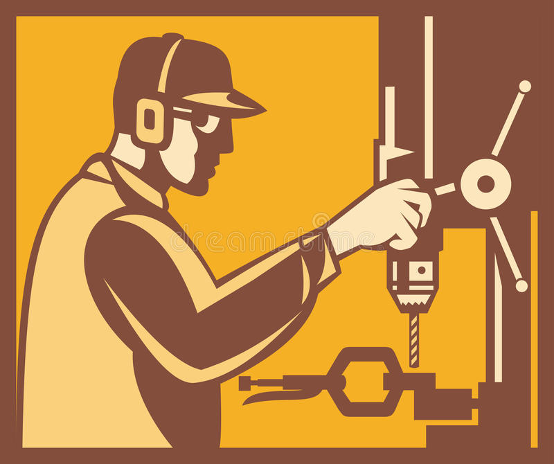 Download Factory Worker Operator With Drill Press Retro Royalty Free Stock Photography - Image: 25163507