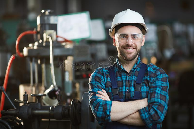 Factory Worker Smiling royalty free stock photos