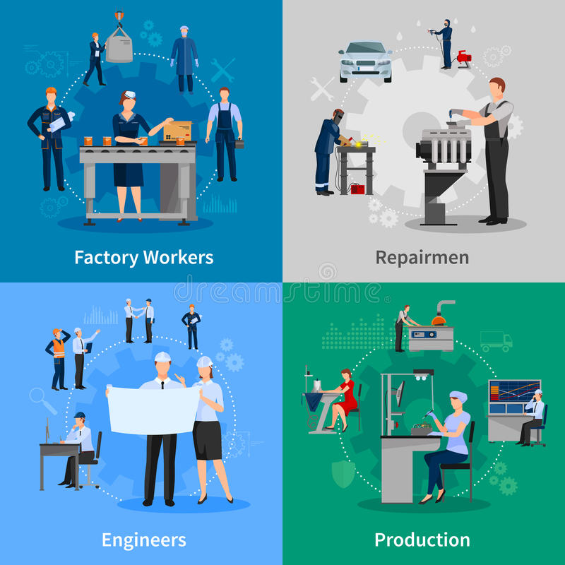 Factory Workers 2x2 Compositions royalty free illustration