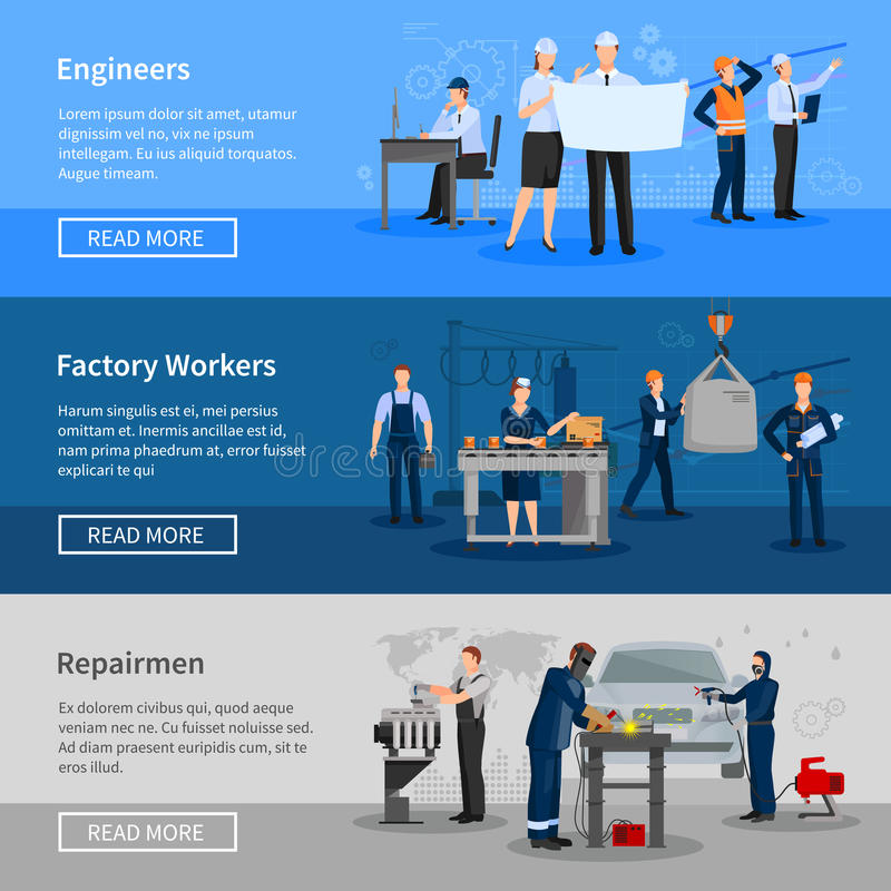 Factory Workers Horizontal Banners vector illustration