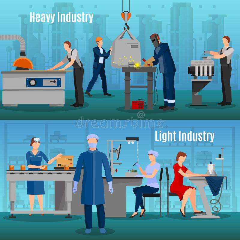Factory Workers Banners Set vector illustration