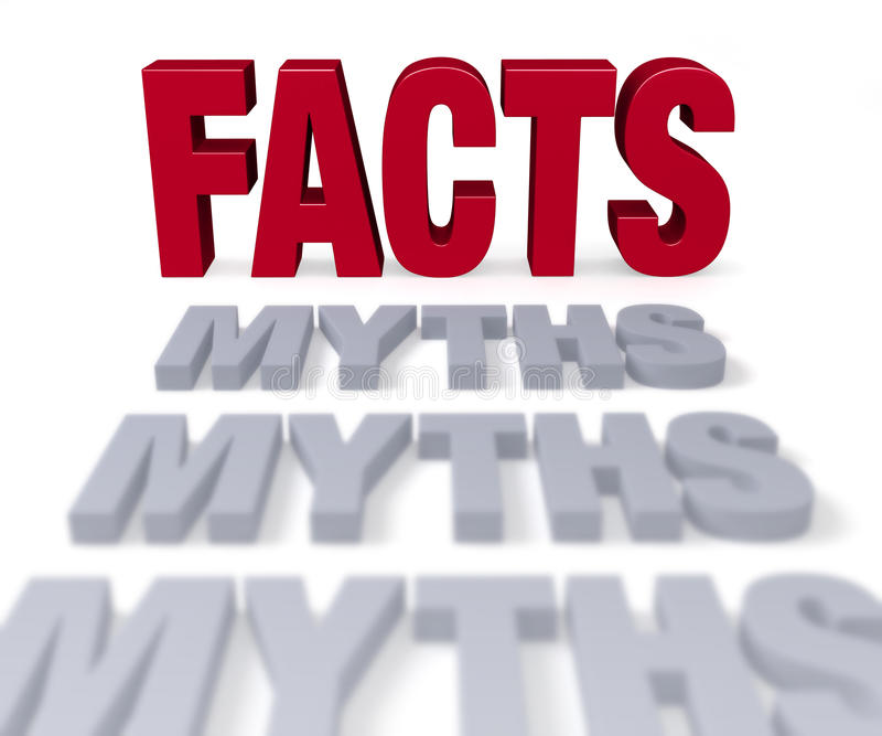 Facts End Myths. Row of plain gray MYTHS end before a shiny red FACTS. Focus is on FACTS. Isolated on white stock illustration