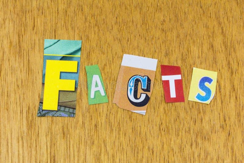 Facts fictie waarheid eerlijkheid integriteit realiteit alternatief bewijs stock afbeelding