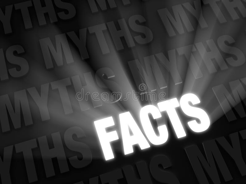 Facts Outshine Myths. Light rays burst from bold, glowing FACTS on a dark background of MYTHS in retro, black and white style royalty free illustration