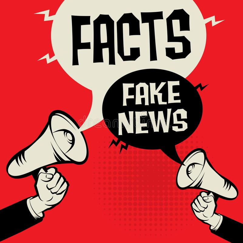 Facts versus Fake News. Megaphone Hand business concept with text Facts versus Fake News, vector illustration royalty free illustration