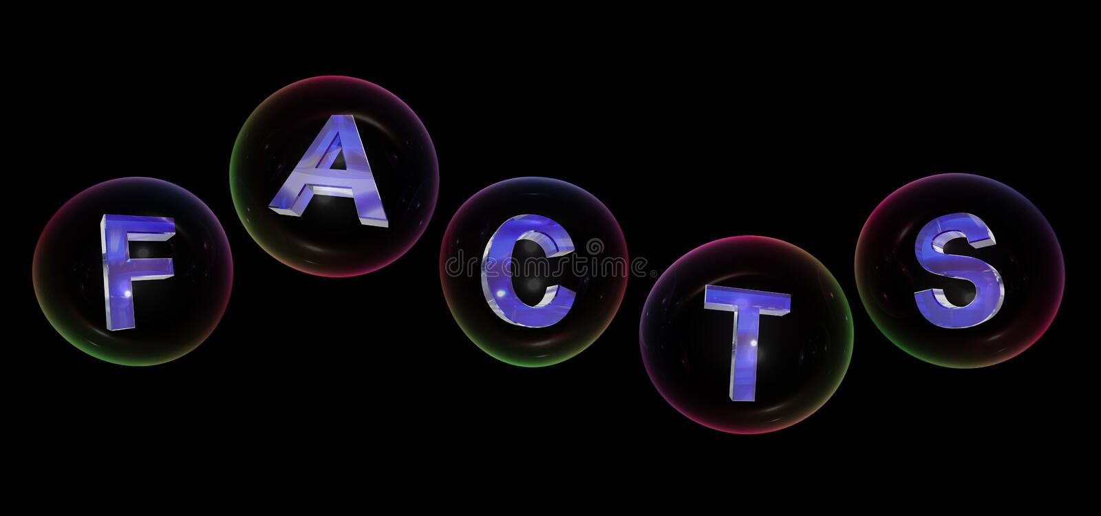 The facts word in bubble. The facts word in soap bubble on black background,3d rendered vector illustration