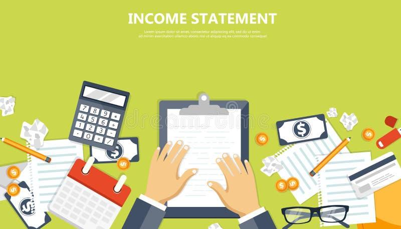 factura Cálculos financieros Proceso de trabajo Manos del hombre de negocios, calculadora, informes financieros, dinero, monedas, stock de ilustración