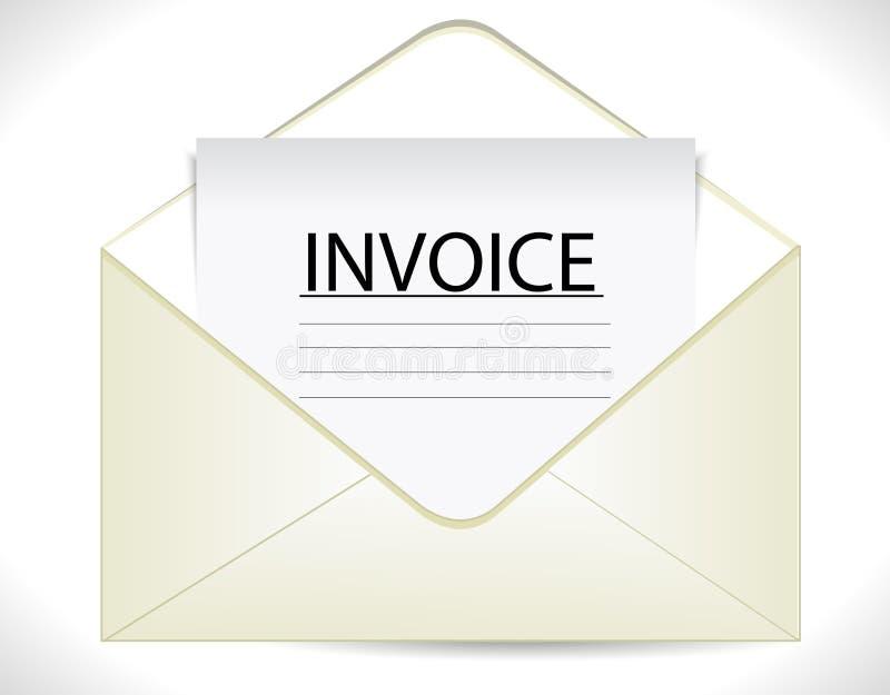 Factura con el sobre, icono de documento de negocio stock de ilustración