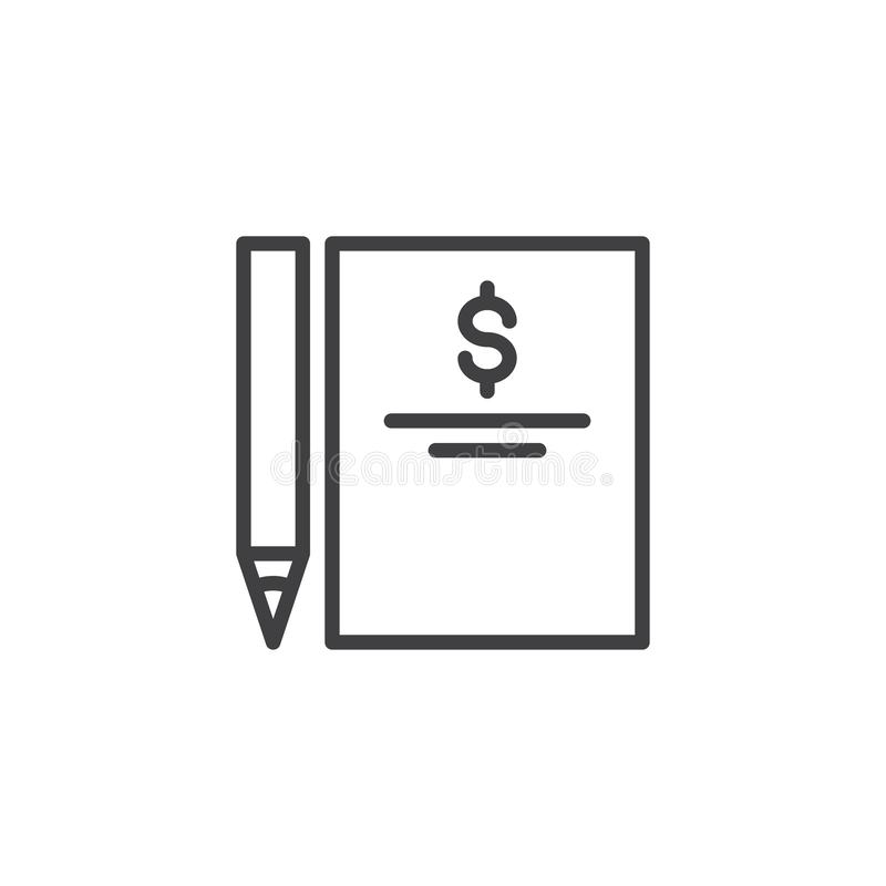 Factura del dólar e icono del esquema de la pluma ilustración del vector