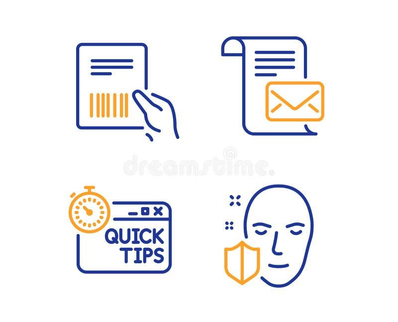 Factura del paquete, letra del correo y sistema r?pido de los iconos de las extremidades Muestra de la protecci?n de la cara Vect libre illustration