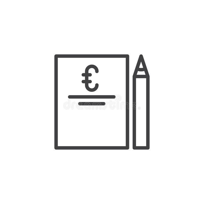 Factura e icono euro del esquema de la pluma ilustración del vector