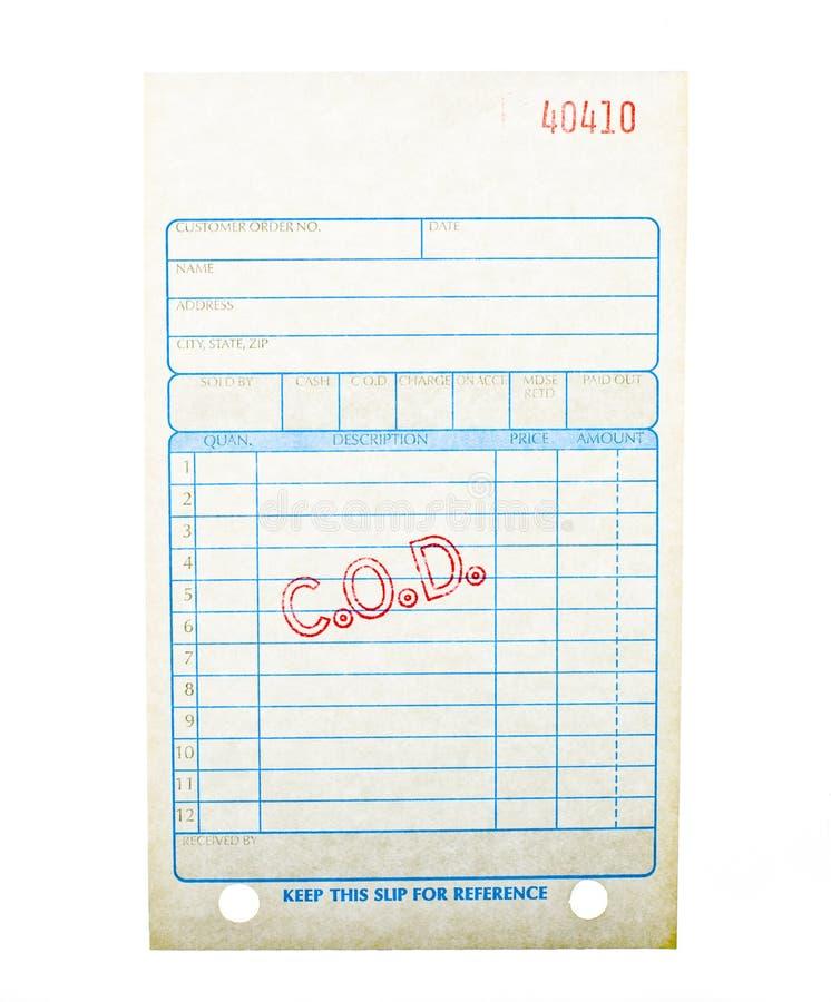 Factura en blanco del pago en la entrega foto de archivo