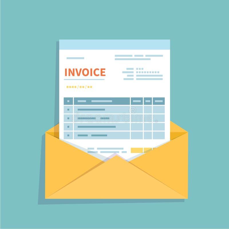 Factura en un sobre abierto Forma sin llenar, minimalistic del documento Pago y facturación, negocio u operaciones financieras stock de ilustración