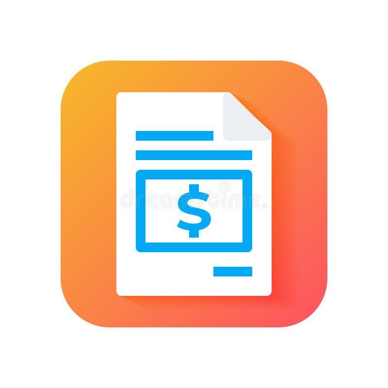 Factura, impuesto, icono de la cuenta Icono moderno en estilo plano en fondo de la pendiente Icono del vector para cualquier prop libre illustration