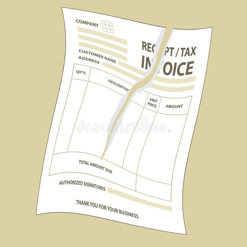 Factura rasgada del impuesto ilustración del vector