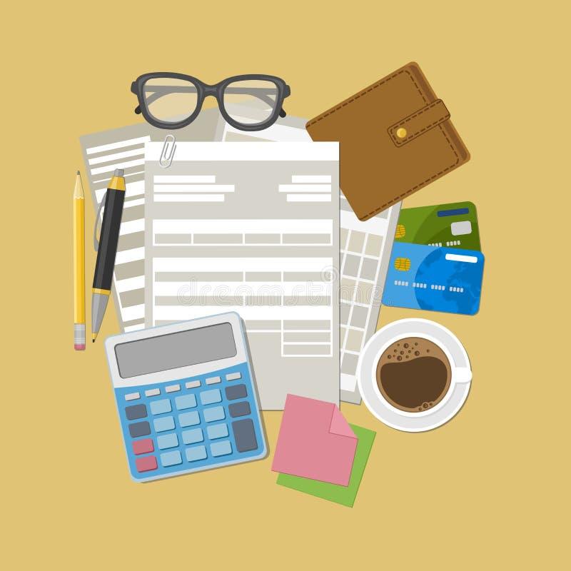 Factura y concepto del pago de impuestos libre illustration