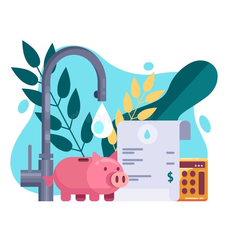 Facturas de servicios públicos y concepto de los recursos del ahorro Ejemplo plano del vector Pago de la factura del agua libre illustration