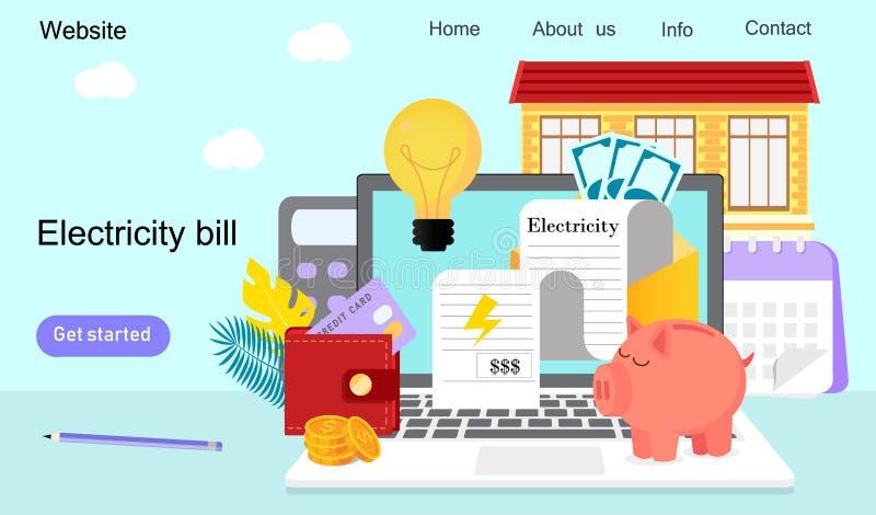 Facturas de servicios p?blicos y recursos de ahorro ilustración del vector