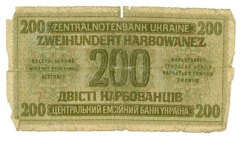 facture de 200 karbovanez de l'Ukraine, 1942 photographie stock