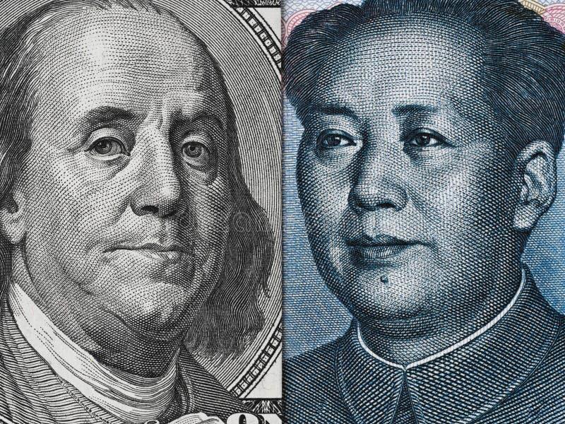 Facture de dollar US et macro de billet de banque de yuans de la Chine, Chinois et EC des Etats-Unis image stock