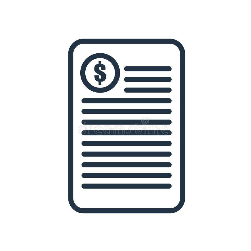 Facture el vector del icono aislado en el fondo blanco, muestra de la factura stock de ilustración