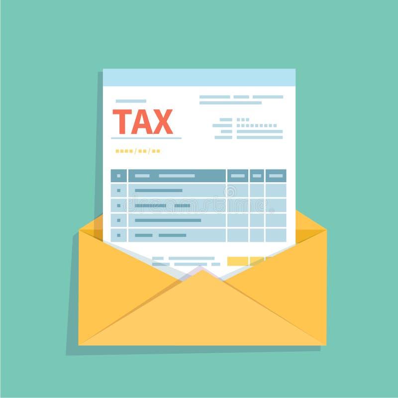 Facture sous enveloppe ouverte Forme non remplie et minimalistic du document Paiement et facturation, affaires ou opérations fina illustration de vecteur