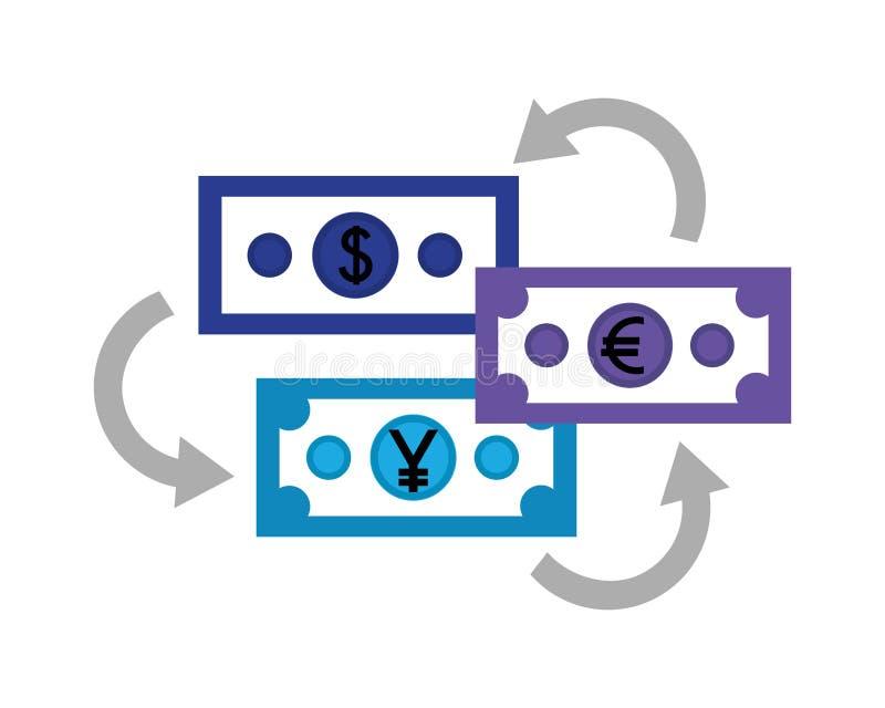 Factures d'affaires d'euro et de Yens du dollar illustration de vecteur