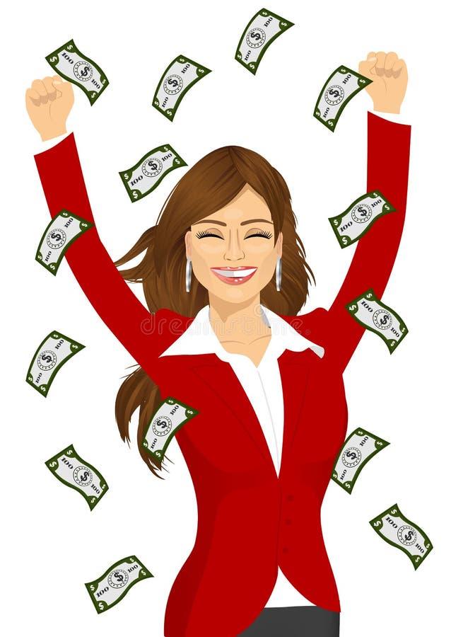 Factures d'argent pleuvantes voyantes heureuses de femme illustration stock