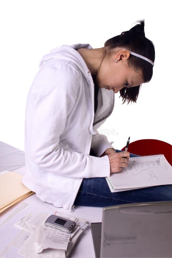 Factures de paiement de l'adolescence de fille et effectuer a pour faire la liste photos libres de droits