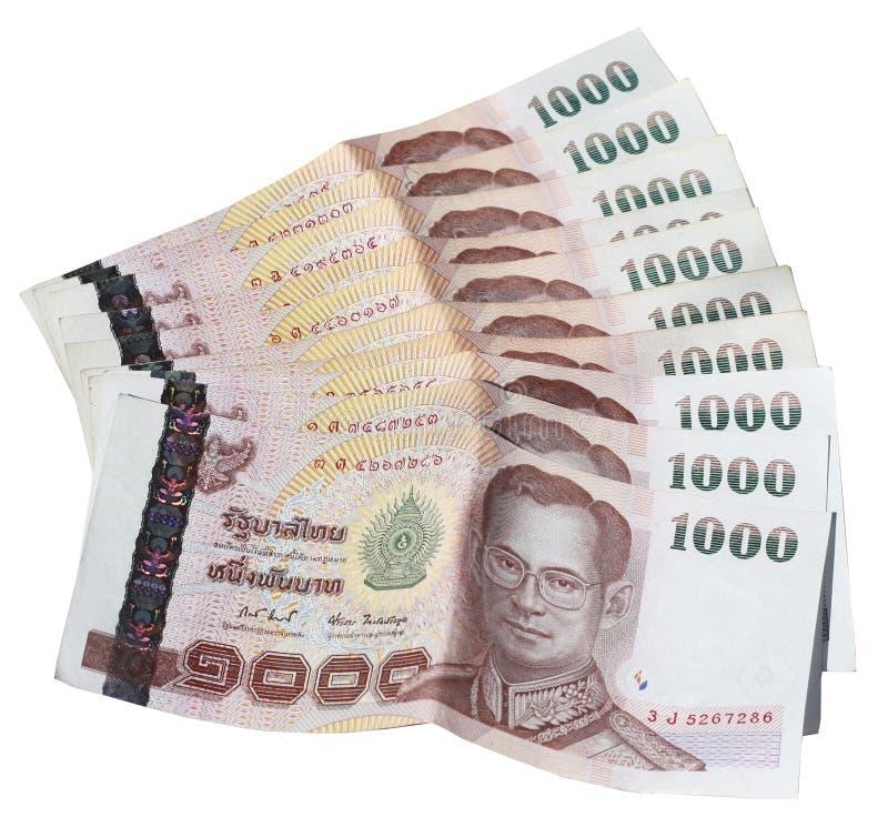 Factures du baht thaïlandais mille étendues image stock