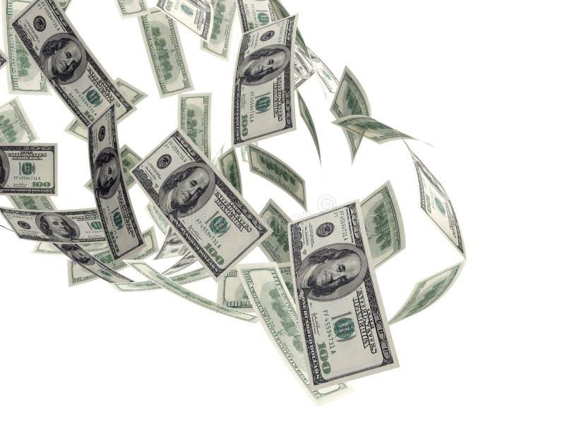 Factures en baisse de l'argent $100 illustration de vecteur