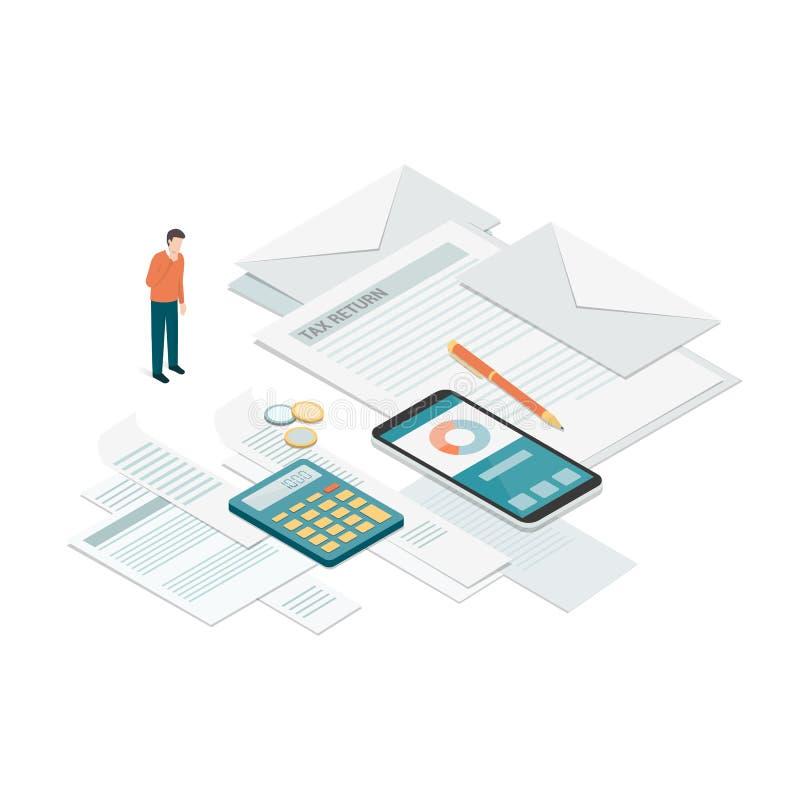 Factures et paiements illustration stock